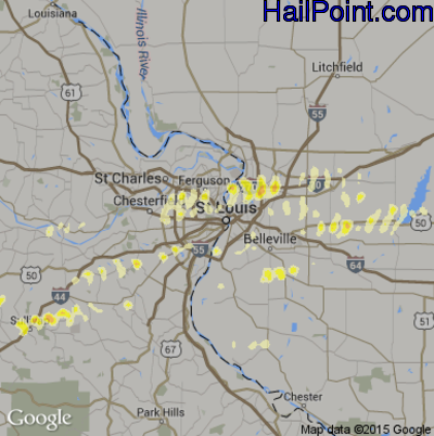Hail Map for St. Louis, MO Region on January 17, 2012