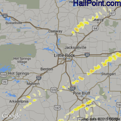 Hail Map for Little Rock, AR Region on January 23, 2012