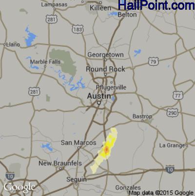 Hail Map for Austin, TX Region on January 25, 2012