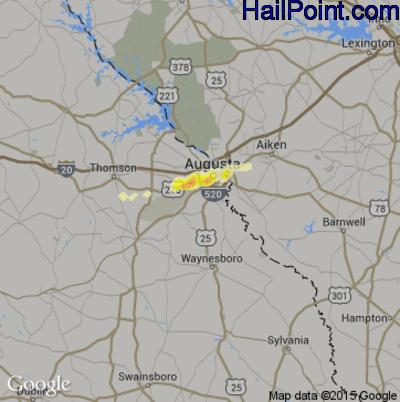 Hail Map for Augusta, GA Region on February 24, 2012