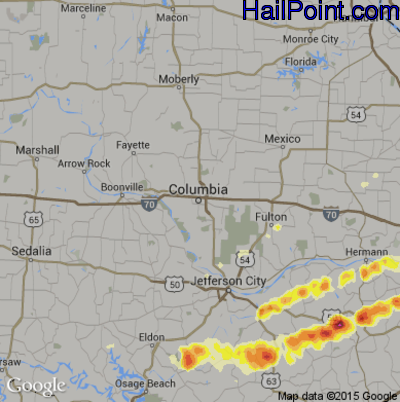 Hail Map for Columbia, MO Region on March 2, 2012
