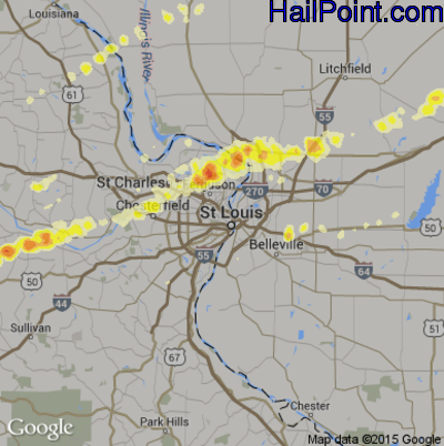 Hail Map for St. Louis, MO Region on March 2, 2012
