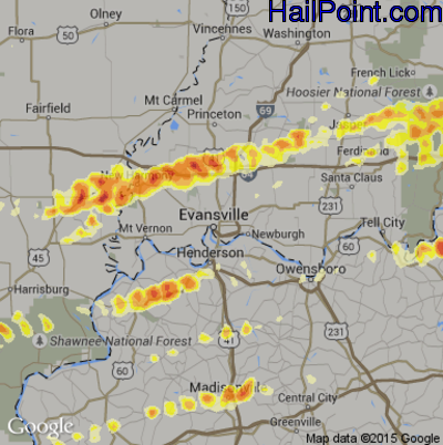 Hail Map for Evansville, IN Region on March 2, 2012
