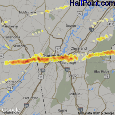 Hail Map for Chattanooga, TN Region on March 2, 2012