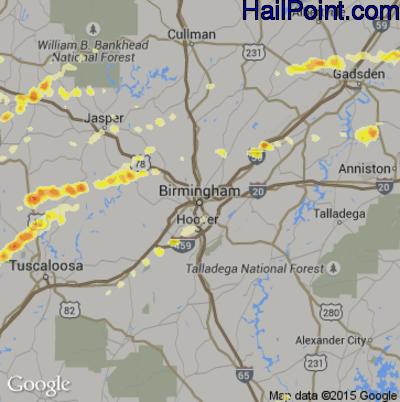 Hail Map for Birmingham, AL Region on March 2, 2012