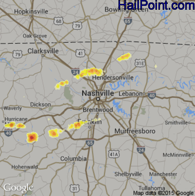 Hail Map for Nashville, TN Region on March 14, 2012