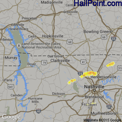 Hail Map for Clarksville, TN Region on March 14, 2012