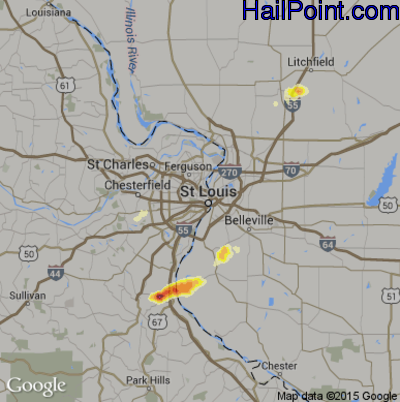 Hail Map for St. Louis, MO Region on March 14, 2012