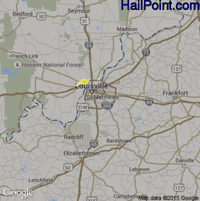Hail Map for Louisville, KY Region on March 15, 2012