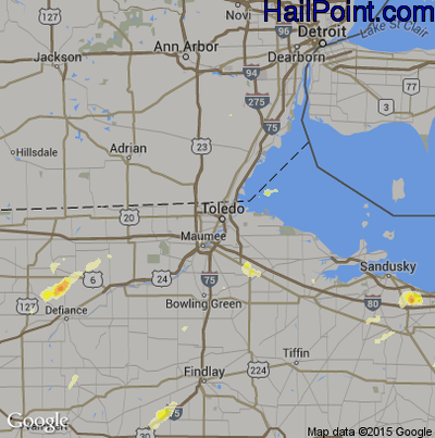 Hail Map for Toledo, OH Region on March 15, 2012