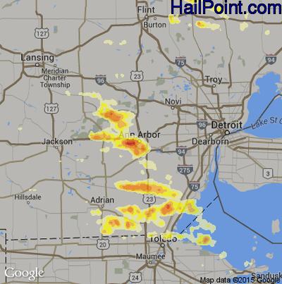 Hail Map for Ann Arbor, MI Region on March 15, 2012