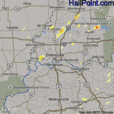 Hail Map for Evansville, IN Region on March 15, 2012