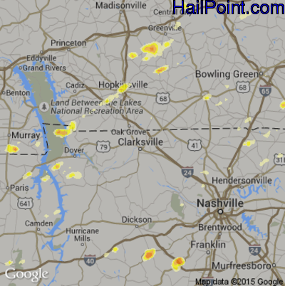 Hail Map for Clarksville, TN Region on March 15, 2012