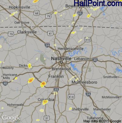 Hail Map for Nashville, TN Region on March 15, 2012