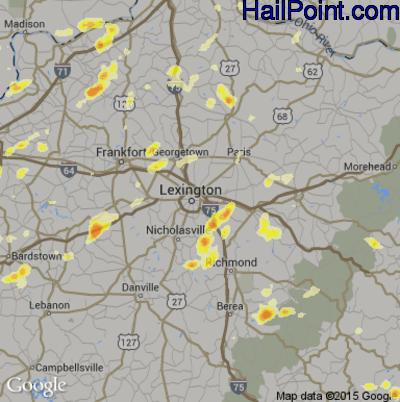 Hail Map for Lexington, KY Region on March 15, 2012
