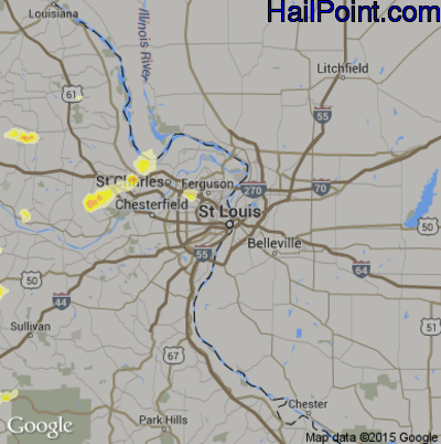 Hail Map for St. Louis, MO Region on March 15, 2012