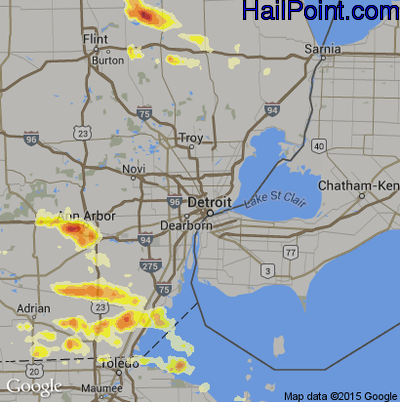 Hail Map for Detroit, MI Region on March 15, 2012