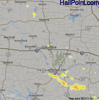 Hail Map for Columbia, MO Region on March 16, 2012
