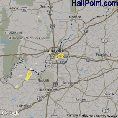 Hail Map for Louisville, KY Region on March 17, 2012