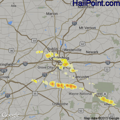 Hail Map for Columbus, OH Region on March 18, 2012