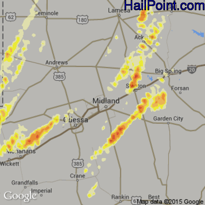 Hail Map for Midland, TX Region on March 18, 2012