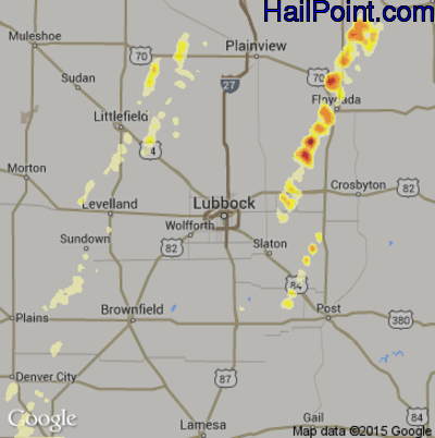 Hail Map for Lubbock, TX Region on March 19, 2012