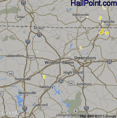 Hail Map for Winston-Salem, NC Region on March 20, 2012