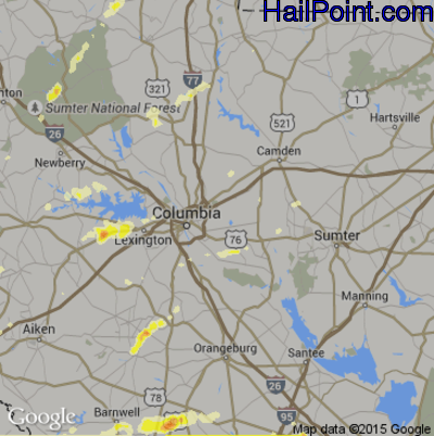 Hail Map for Columbia, SC Region on March 24, 2012