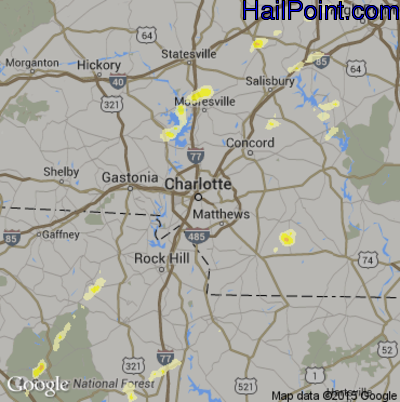 Hail Map for Charlotte, NC Region on March 24, 2012