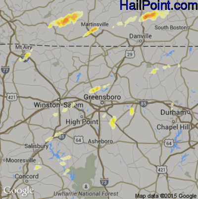 Hail Map for Greensboro, NC Region on March 24, 2012