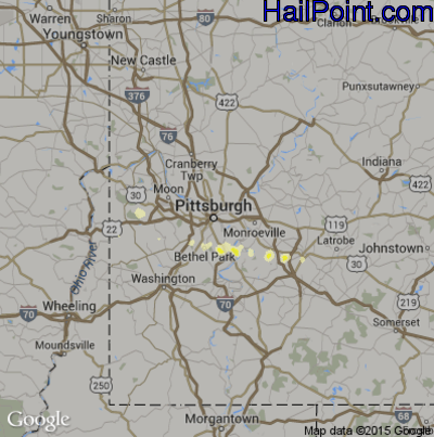 Hail Map for Pittsburgh, PA Region on March 28, 2012