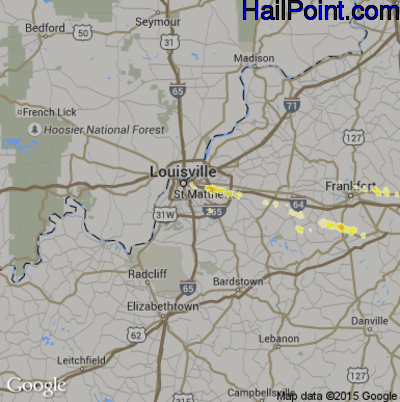 Hail Map for Louisville, KY Region on March 28, 2012
