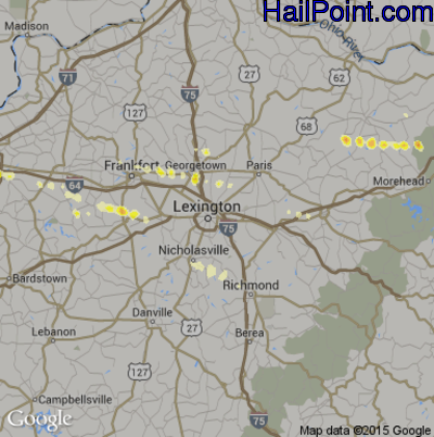 Hail Map for Lexington, KY Region on March 28, 2012