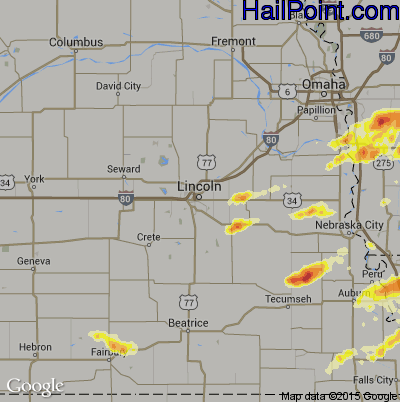 Hail Map for Lincoln, NE Region on March 29, 2012