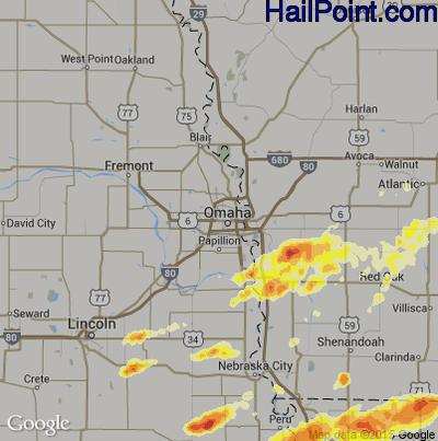 Hail Map for Omaha, NE Region on March 29, 2012