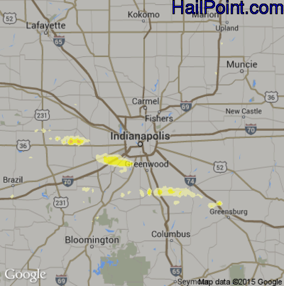 Hail Map for Indianapolis, IN Region on March 30, 2012