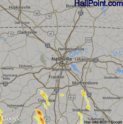 Hail Map for Nashville, TN Region on March 31, 2012