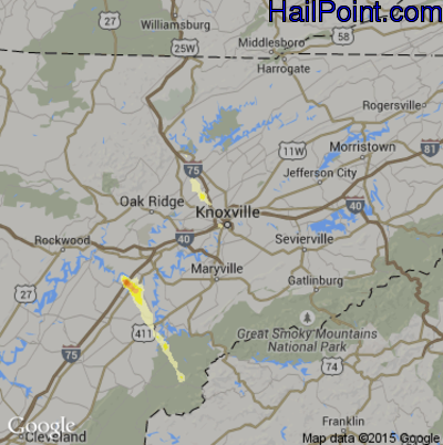 Hail Map for Knoxville, TN Region on March 31, 2012