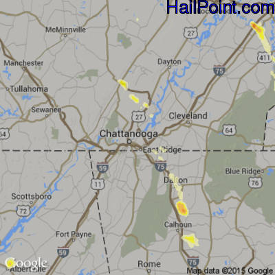 Hail Map for Chattanooga, TN Region on March 31, 2012