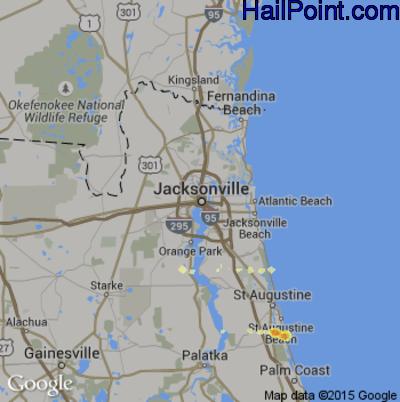 Hail Map for Jacksonville, FL Region on March 31, 2012