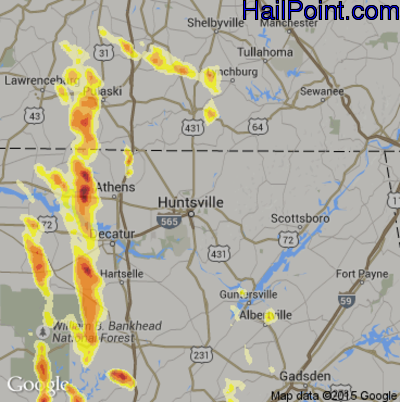 Hail Map for Huntsville, AL Region on March 31, 2012