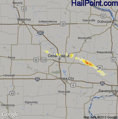 Hail Map for Cedar Rapids, IA Region on April 1, 2012