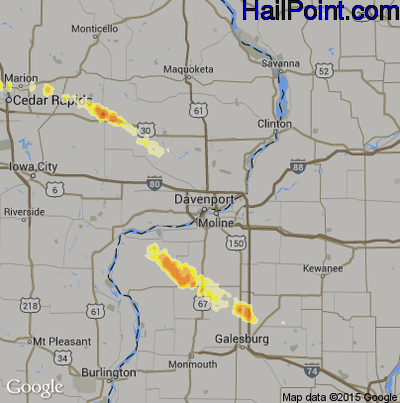 Hail Map for Davenport, IA Region on April 1, 2012