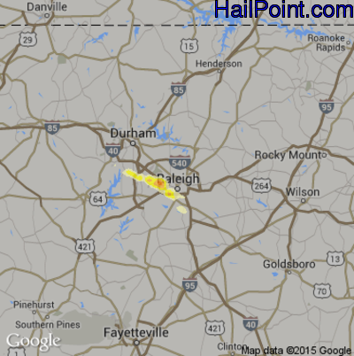 Hail Map for Raleigh, NC Region on April 1, 2012