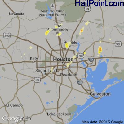 Hail Map for Houston, TX Region on April 2, 2012