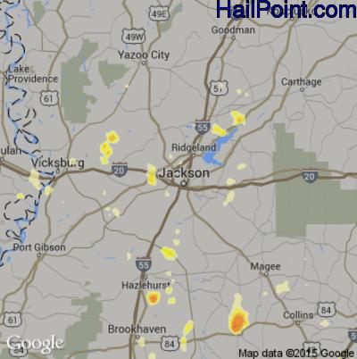 Hail Map for Jackson, MS Region on April 2, 2012