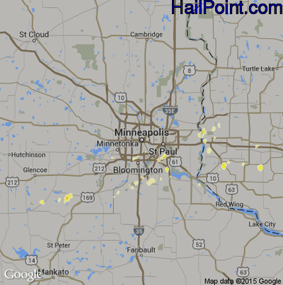 Hail Map for Minneapolis, MN Region on April 3, 2012