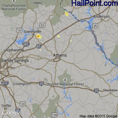 Hail Map for Athens, GA Region on April 3, 2012