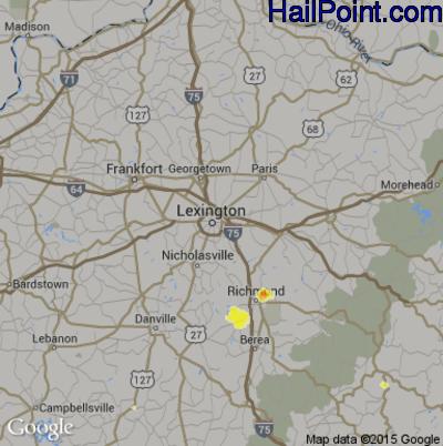 Hail Map for Lexington, KY Region on April 3, 2012