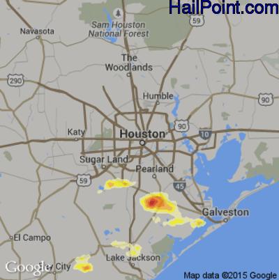 Hail Map for Houston, TX Region on April 4, 2012